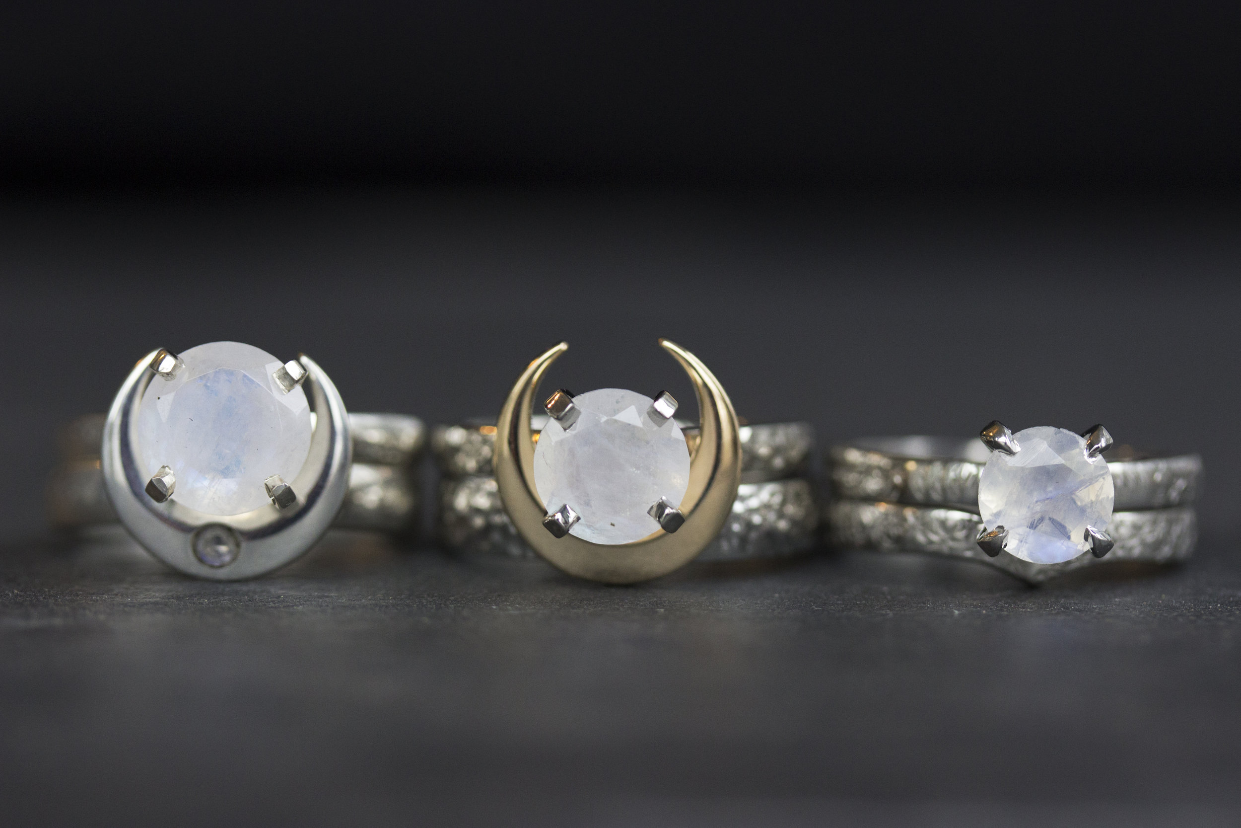 Left to Right:  The Perigee Moonstone and Moonstone Dusted Deadly Crescent, 8mm Hammered Artemis and a Mixed-Metal Crescent in 14k Yellow and White Gold, and the Atlantides and Pleiades in 14k White Gold. You can see these three sets in action in the video below. XO, P.