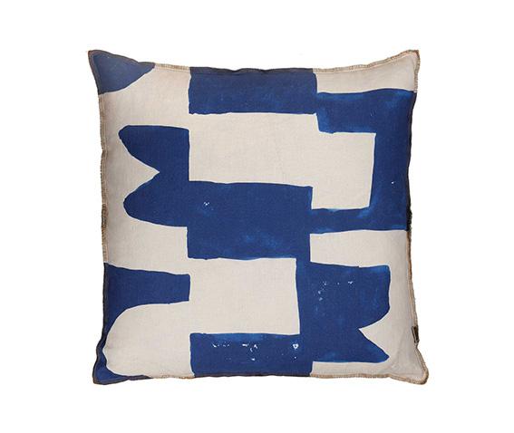 Block Blue Cushion 50cm x 50cm - $145.00