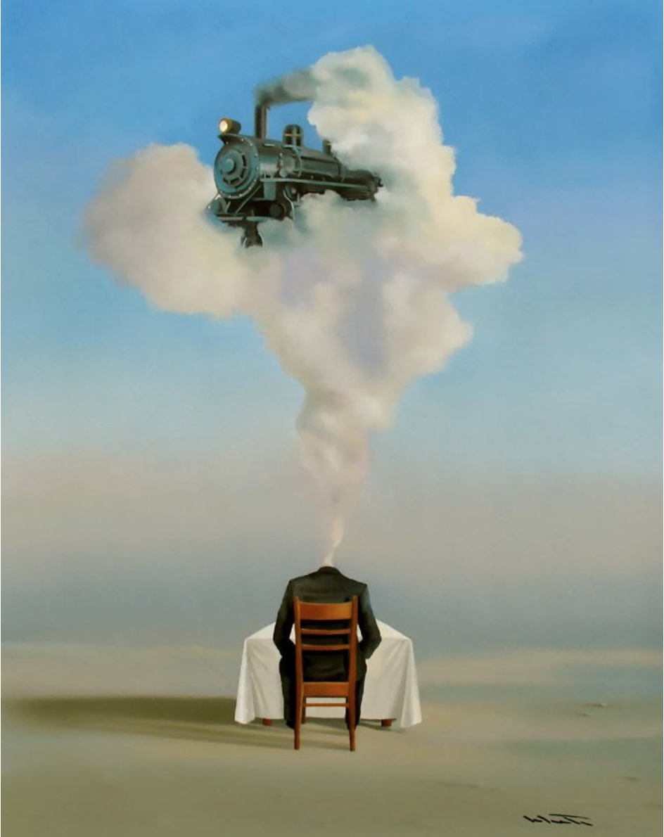 """The Train of Thought"" painting by Rene Schute"