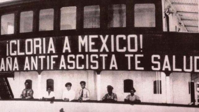Uno de los barcos que llevó a los españoles en el exilio a México