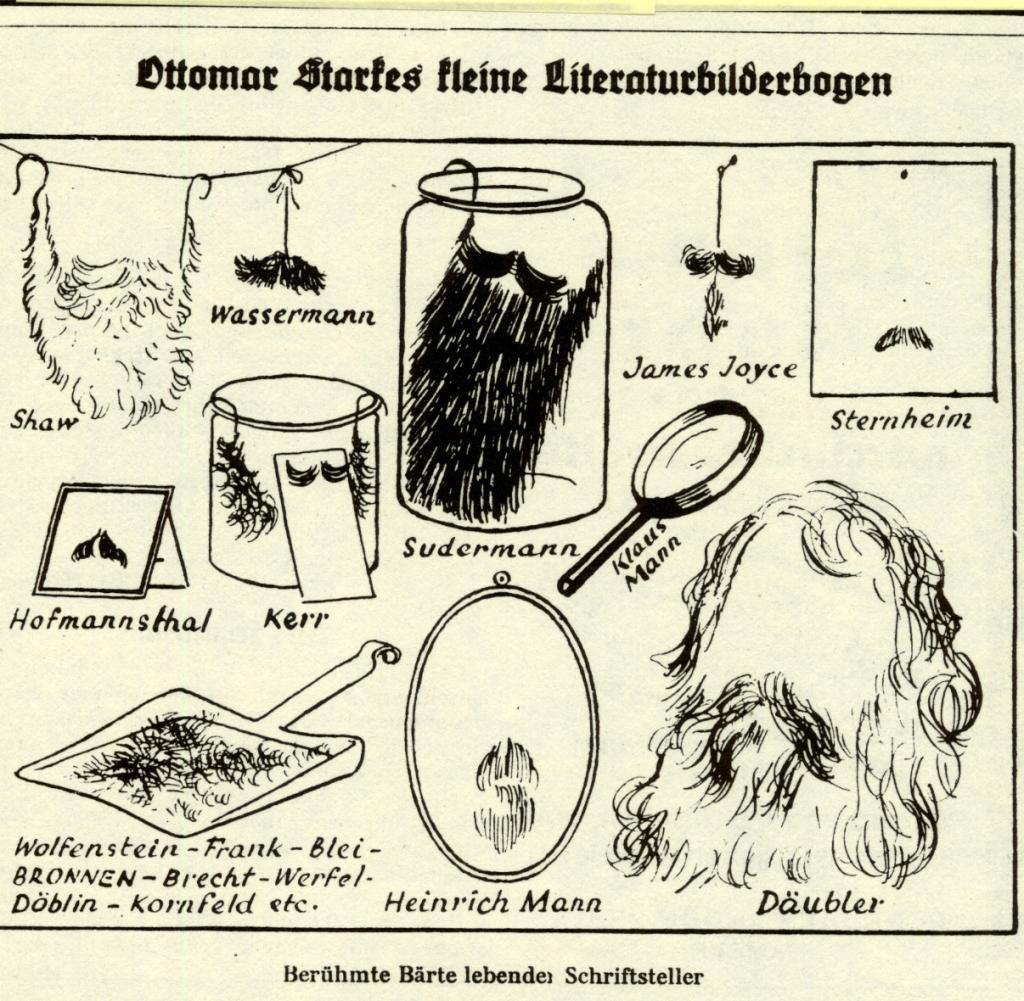 Detalle de una viñeta de barbas famosas de autores vivos en ese momento