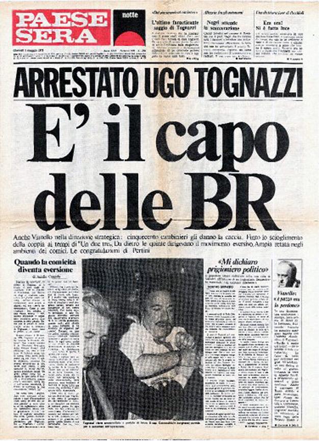 Portada del número falso del Paese Sera, 1979. Obra del colectivo Il Male.