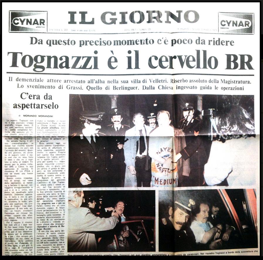 Portada del número falso de Il Giorno, 1979. Obra del colectivo Il Male.