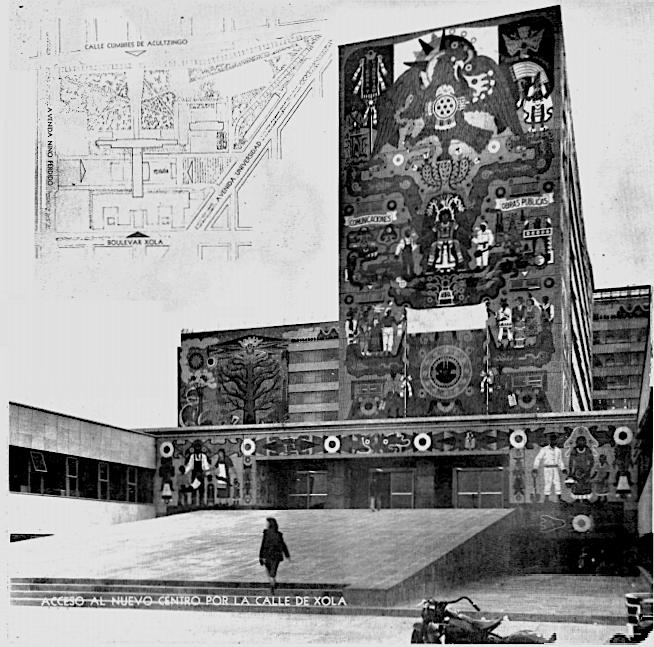Fachada del Conjunto de la Secretaría de Comunicaciones y Obras Públicas. Publicado en  Espacios. Revista Integral de Arquitectura y Artes Plásticas , octubre-diciembre de 1954. Archivo Digital Raíces, Facultad de Arquitectura, UNAM.