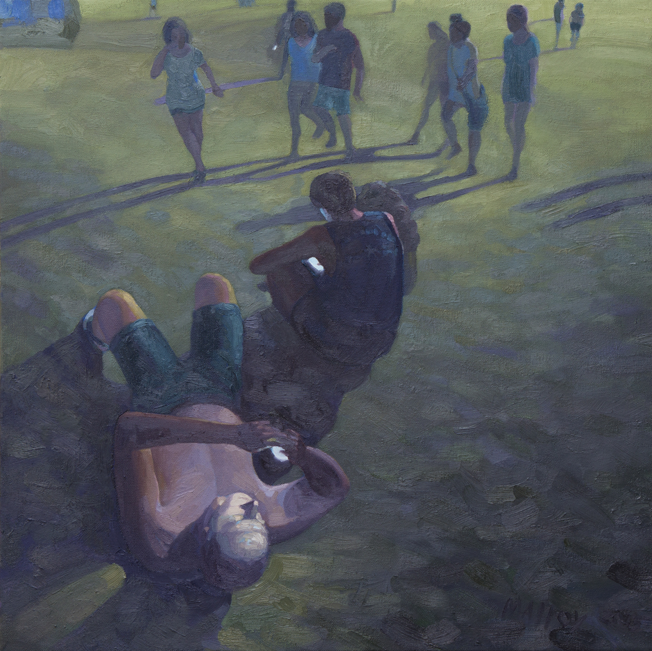 """Phubing at ACL 2.  Oil on canvas. 24"""" x 24"""". 2015"""