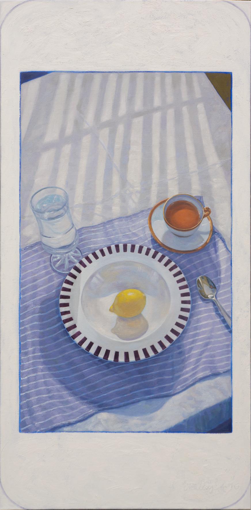 """Hashtag Food - lemon with tea.  Oil on canvas 24 """"x 48"""". 2016"""