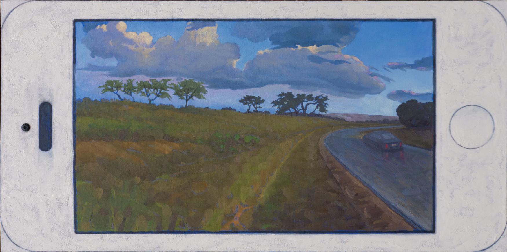 """Mobile Landscape.  Oil on canvas 24"""" x 48"""". 2015"""