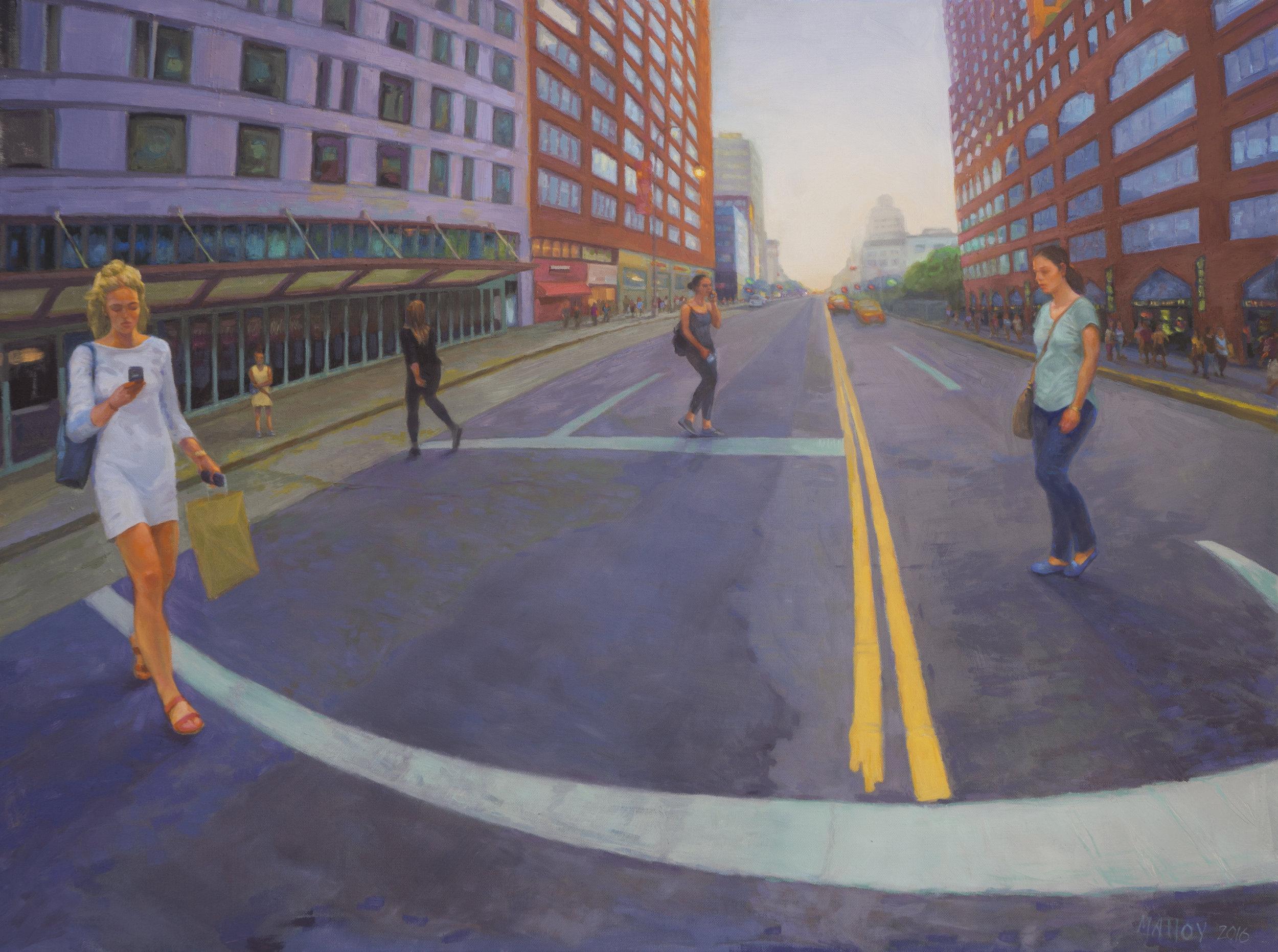 "Crosswalk: 14th St NYC.  Oil on canvas 30"" x 40"" 2016"