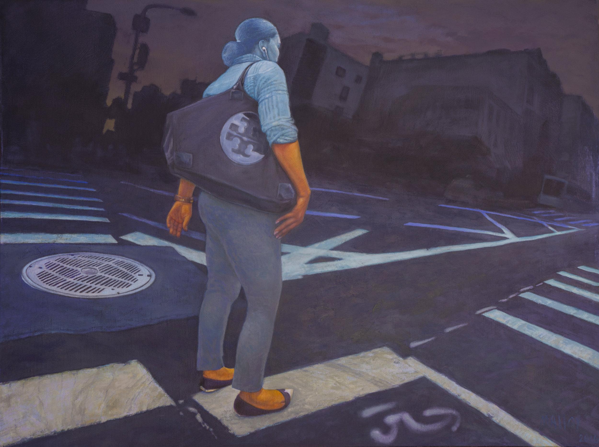 """Crosswalk: Canal St. NYC.  30"""" x 40"""" 2016"""