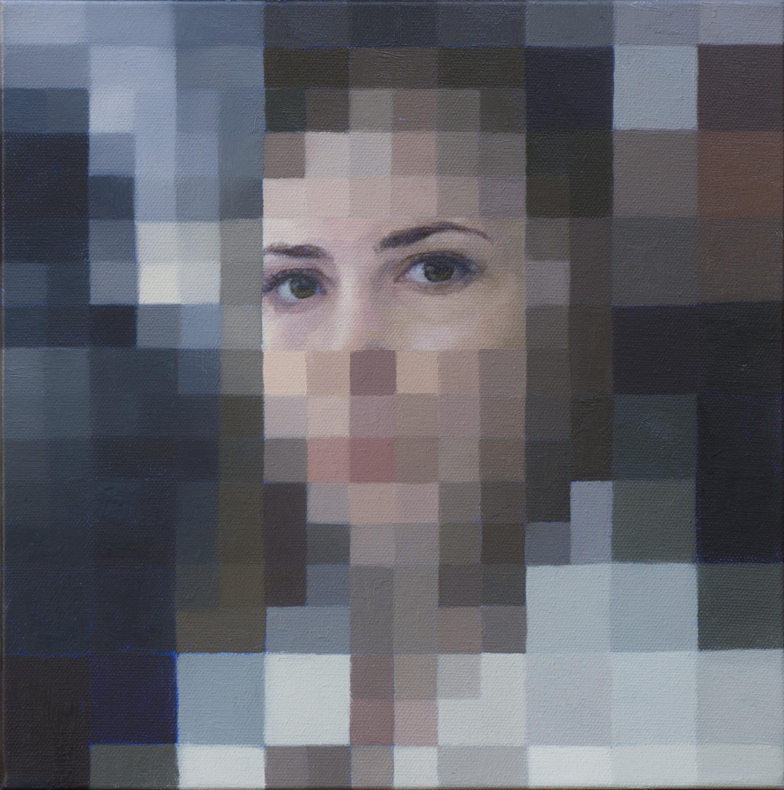 "Digital Personas:  Relationship Dynamics 12"" x 12"" oil on canvas. 2108"