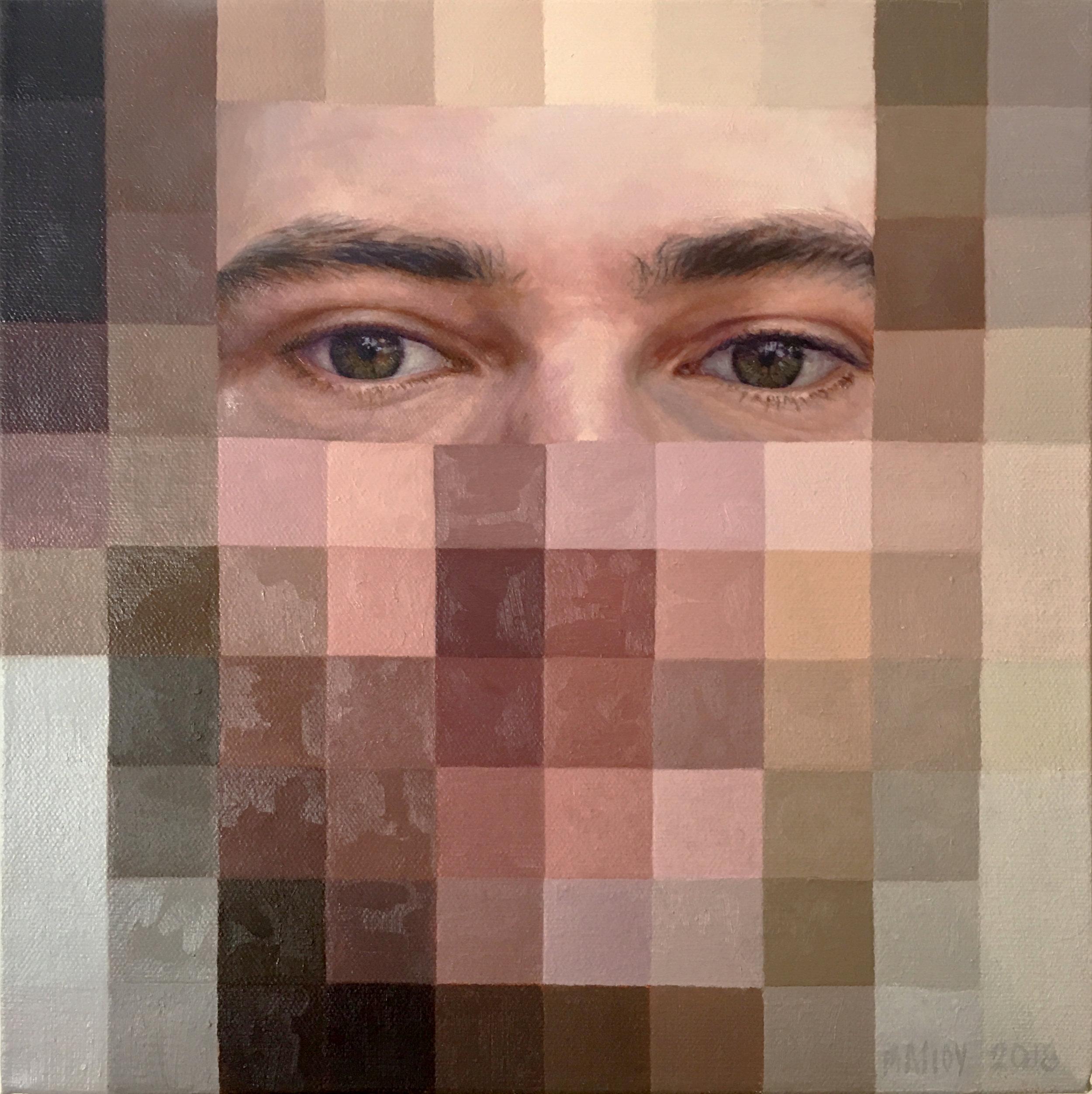 "Digital Personas:  John 12"" x 12"" oil on canvas. 2108"