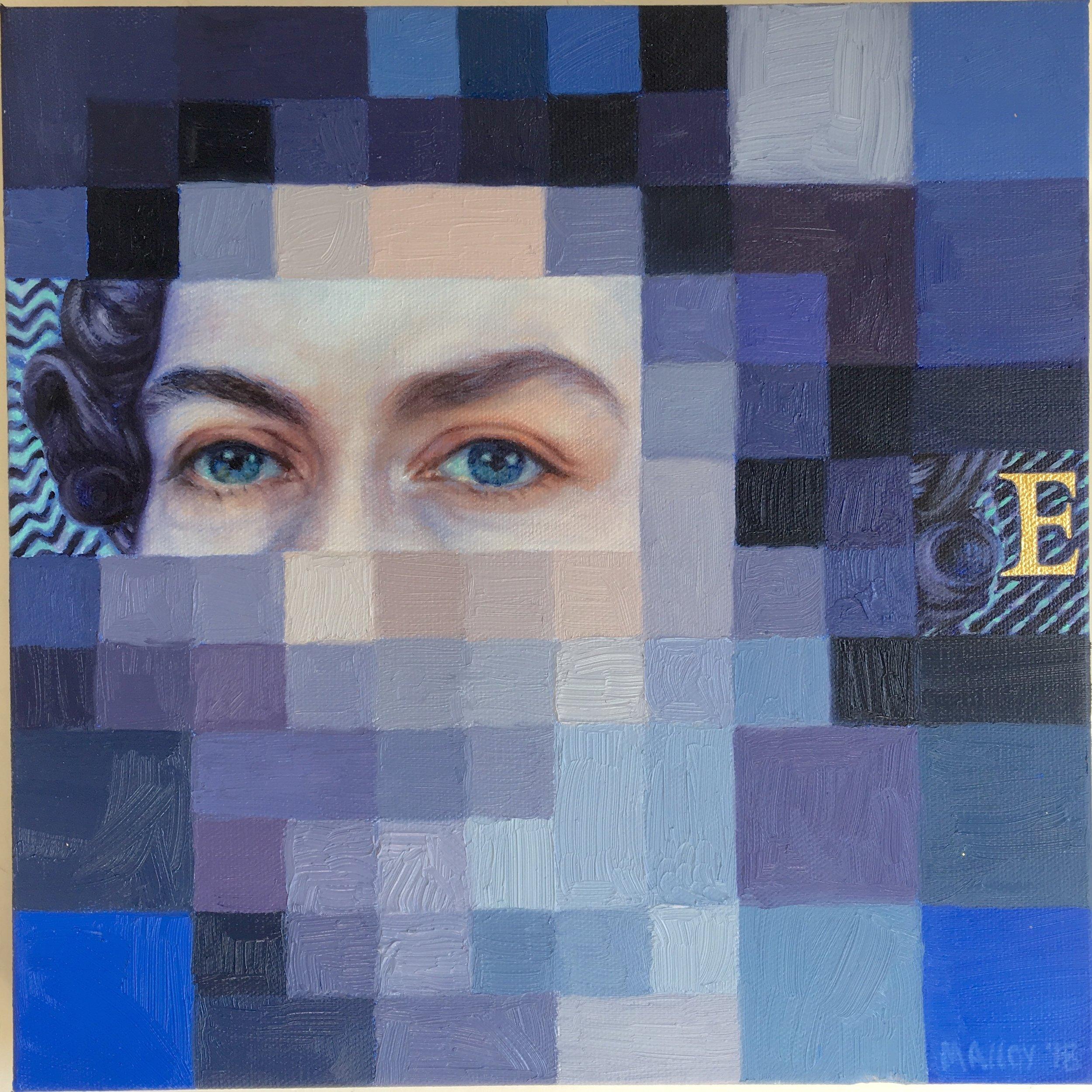 """Digital Personas:  Queen Elizabeth 12"""" x 12"""" oil on canvas. 2108"""
