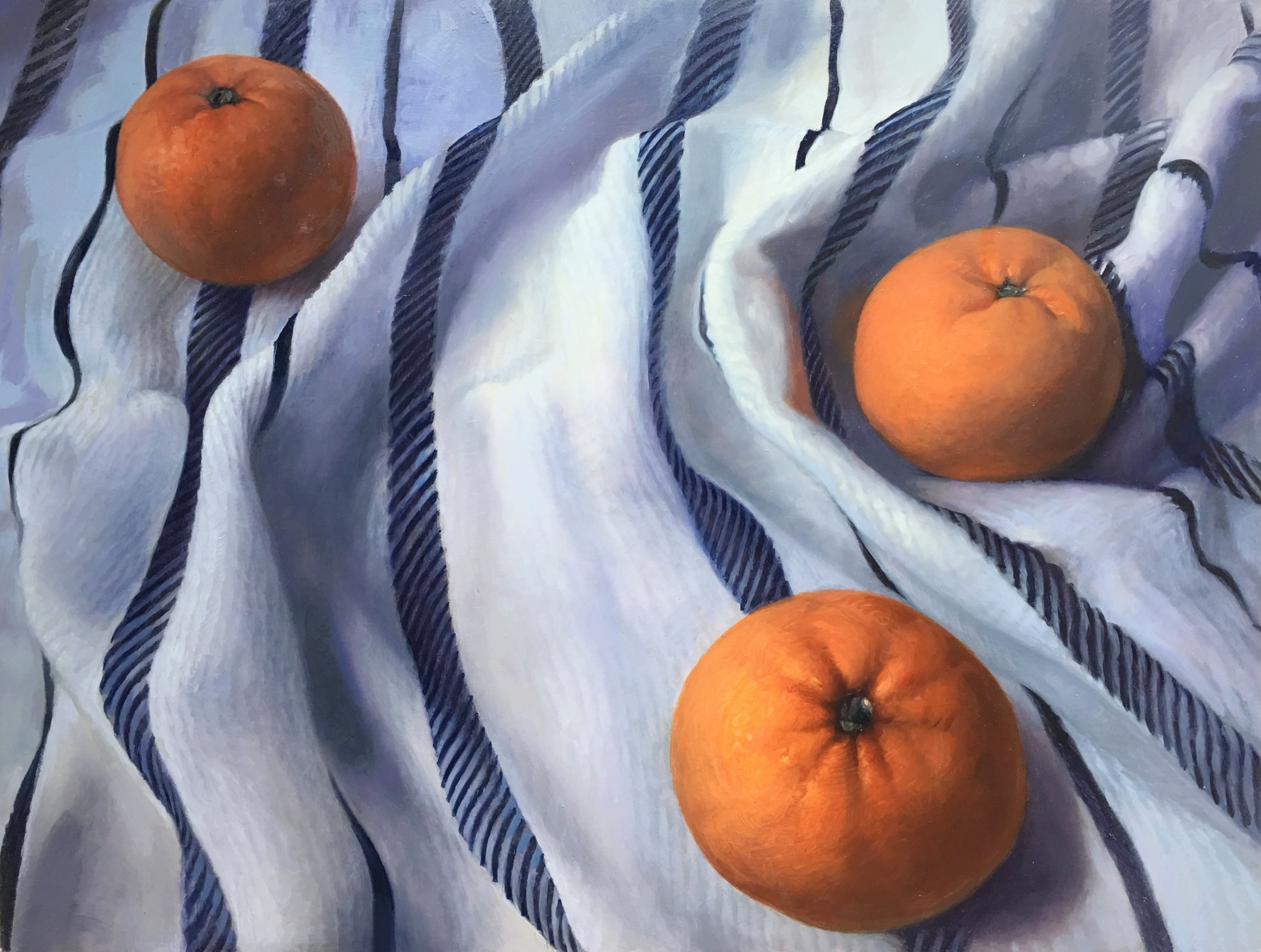 """Clementines : Two's company, three's a crowd.     18"""" x 24"""" oil on panel"""