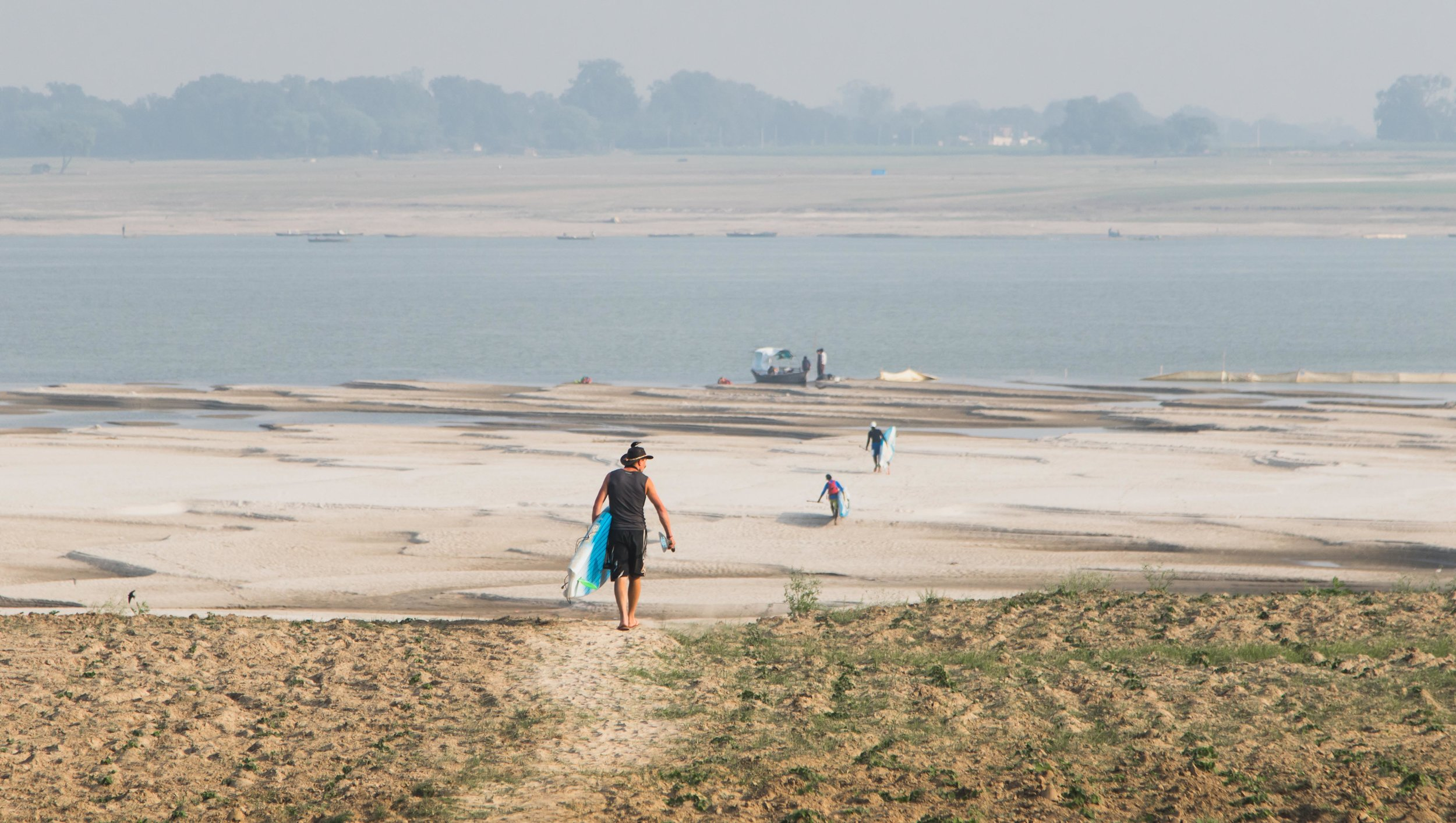 The team head out for another day on the Ganges