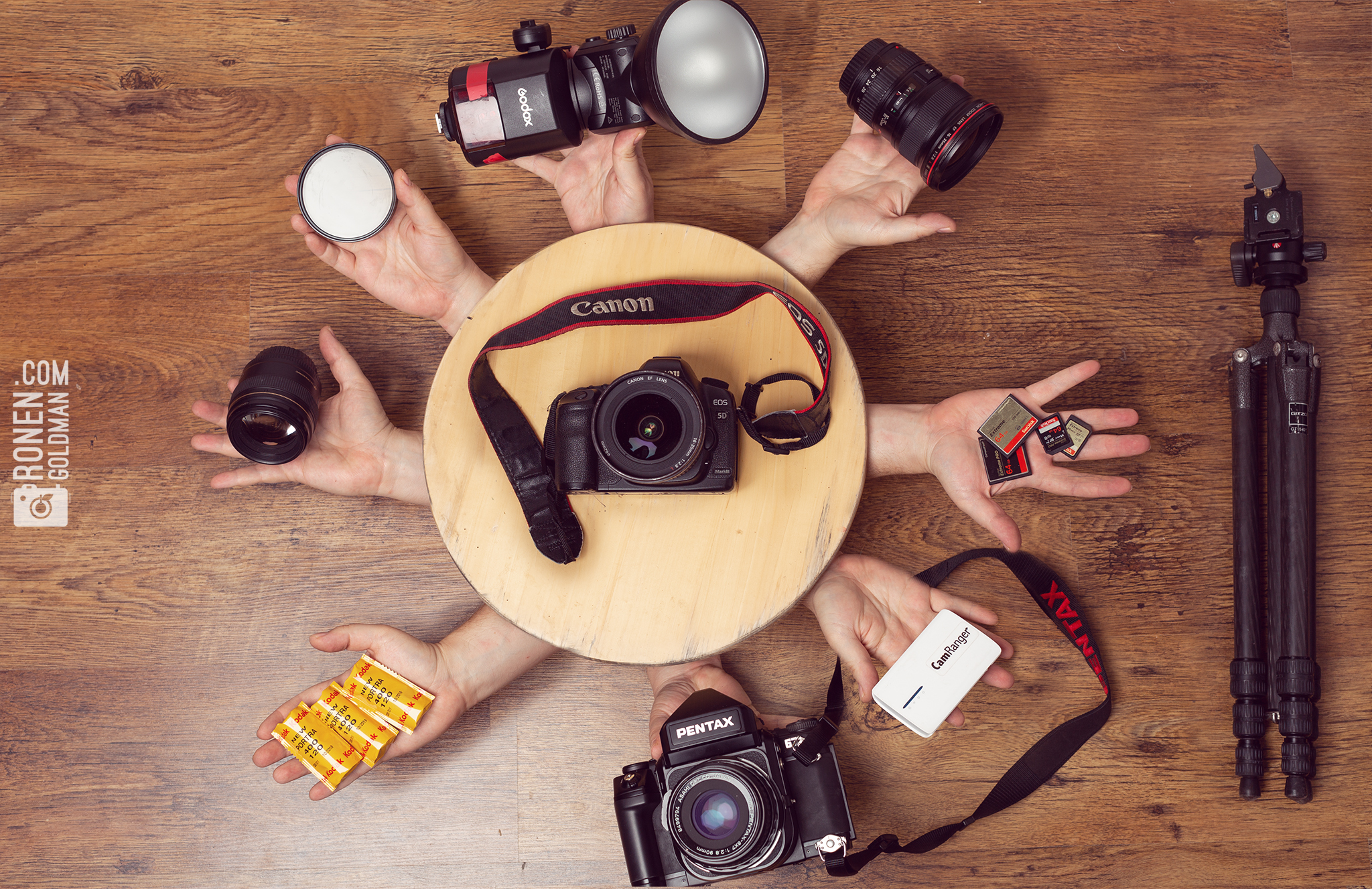 My Gear:      Cameras:   Canon 5d mk3  Pentax 67ii   Lenses:   Canon 16-35 2.8  Canon 85 1.8  Canon 100 Macro  Pentax SMC 105 2.4   Lighting:   Godox AD360  Elinchrom Deep Octa Rotalux   Film Stock:   Kodak Portra 400   Misc   Camranger  Variable ND  Gitzo Carbon Fiber Tripod