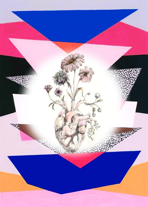 "Background print by  Eloise Renouf  | ""Blooming Heart"" by  Meagan Segal  