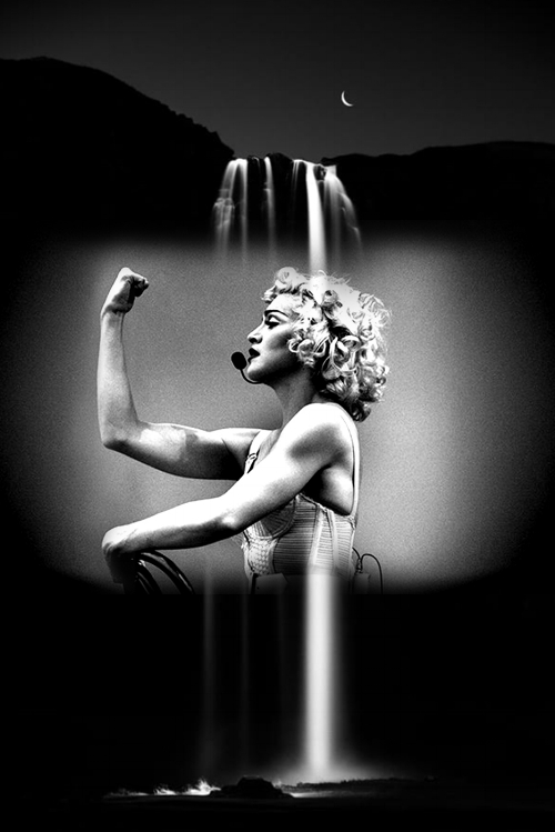 Madonna on her Blond Ambition World Tour (1990) in the iconic bodysuit by Jean-Paul Gaultier / Waterfall by  Kristofer Michaelson  / Edit by me