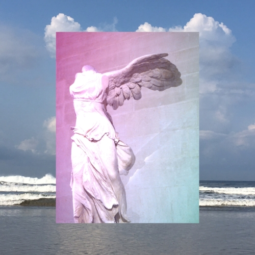 Background photo by me (Nosara, Costa Rica) / Photo of Winged Victory by someone, sometime, in the Louvre / Edit by me