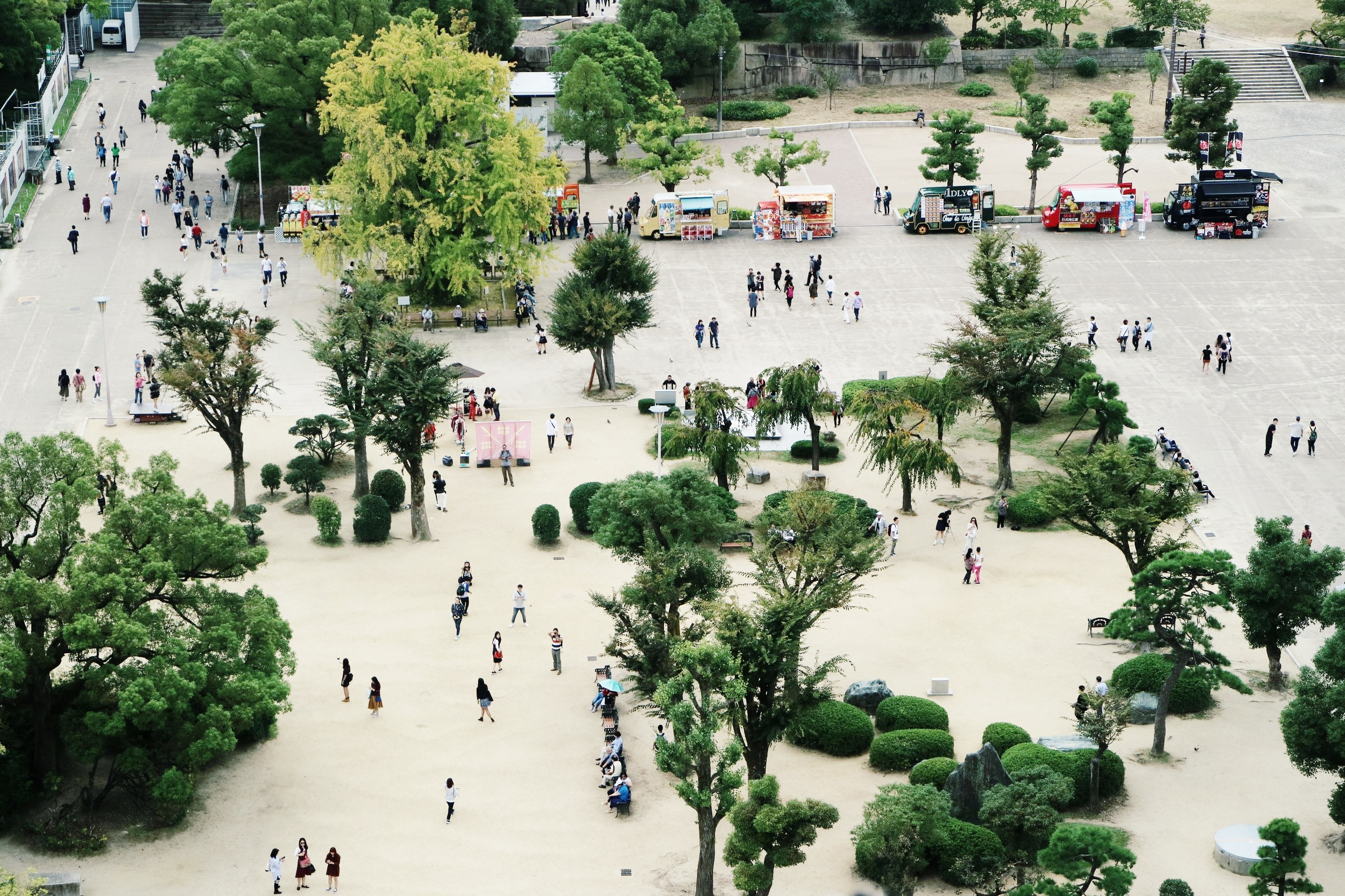 Osaka Castle Front Garden from Above