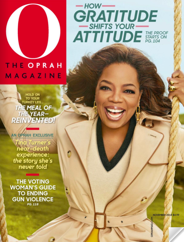 Cover of November 2018 issue of O, The Oprah Magazine with Oprah on the cover in a beige trench coat on a swing.