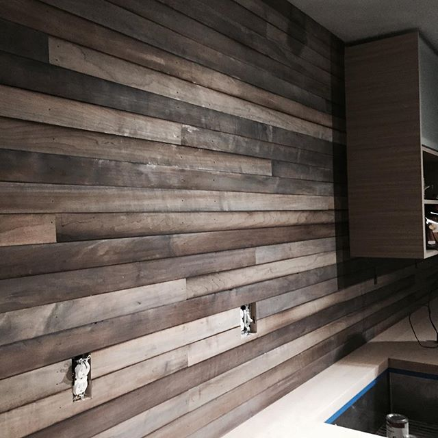 Beautiful reclaimed looking wall made and finished from scraps! #reclaimedwood #customcabinets #timelessmillworks