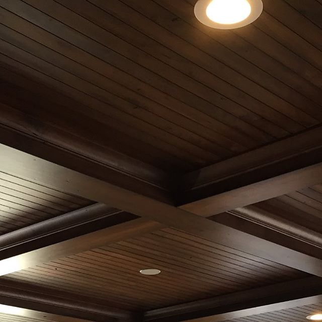 One of our recent jobs. A beautiful Walnut Crawford ceiling. #timelessmillworks #custommillwork #crawfordceilings