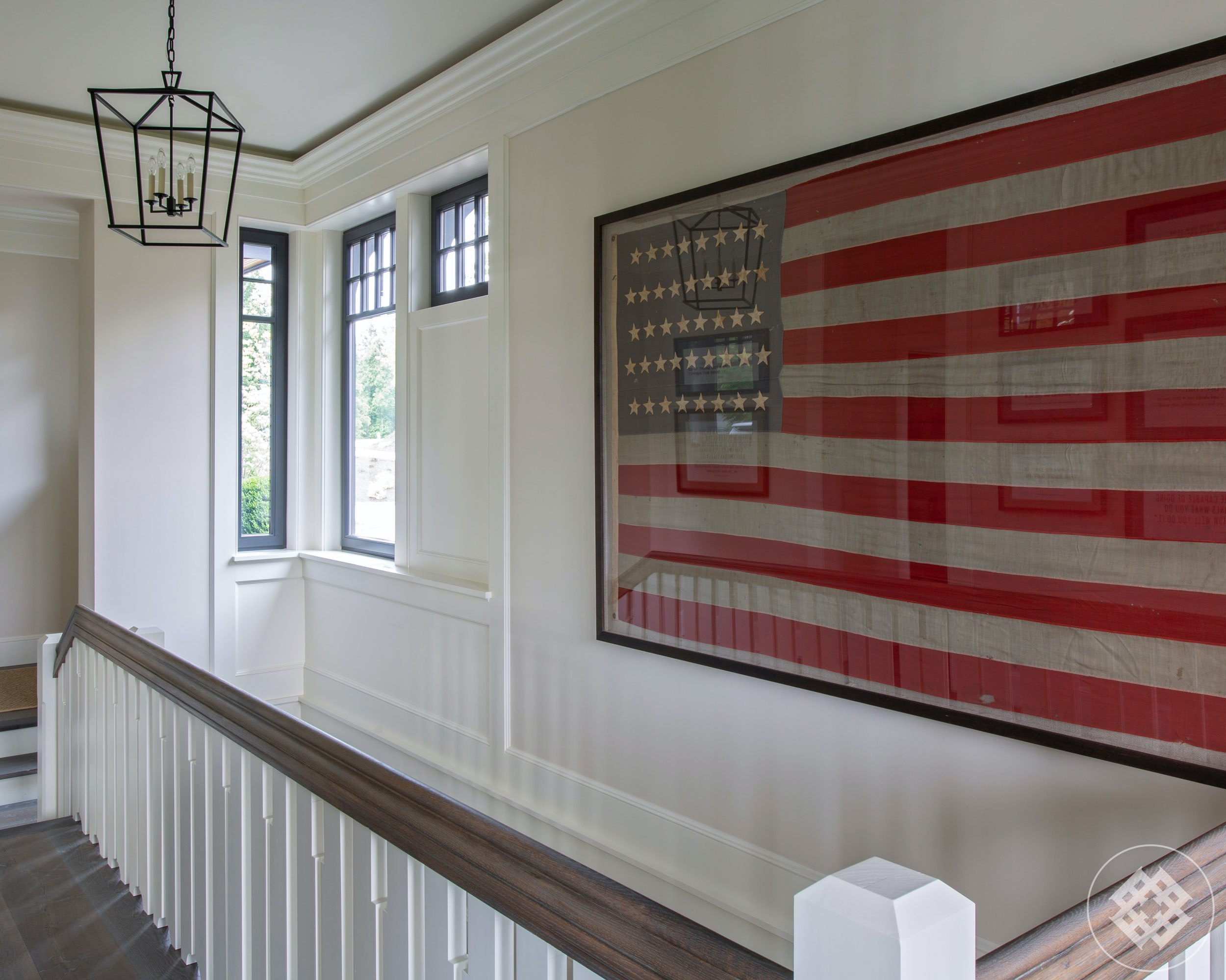 kkl-vintage-42-star-american-flag-graces-top-of-lake-house-stairs.jpg
