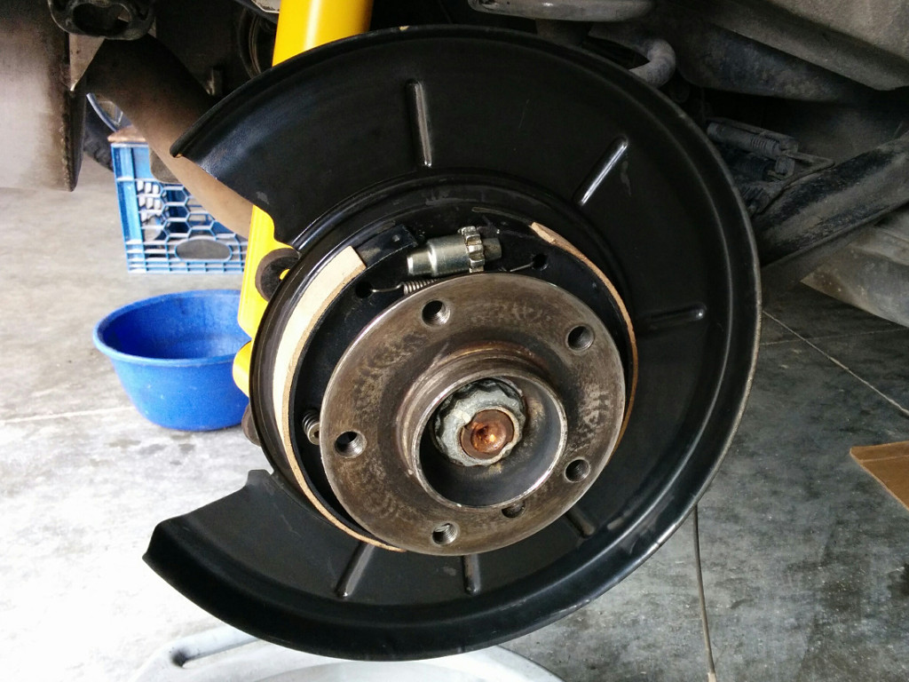 New Parking Brake Shoes Installed