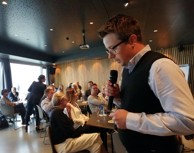 Gründer, Dag Josef Foss presenterer selskapet Justify. (tidligere Gründerhub-deltaker)