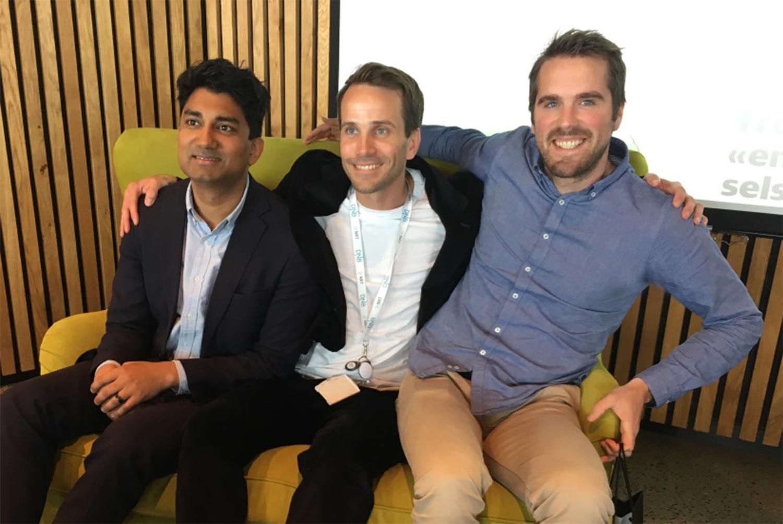 (t.v) Murshid Ali, Thomas Våland (DNB) og Sigbjørn Groven på Innovation Dock