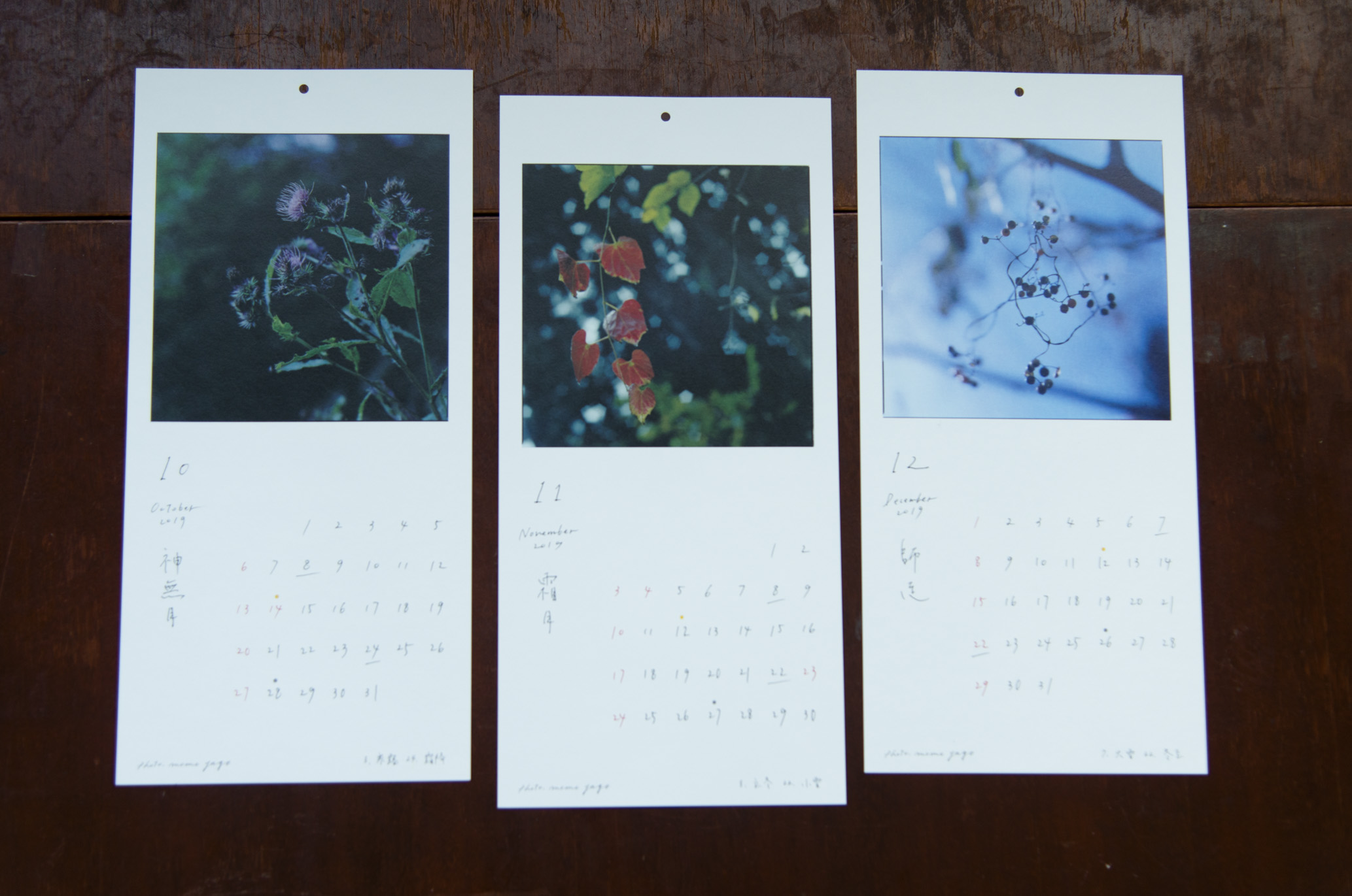 十月:アザミ 十一月:ツタ 十二月:バラの実