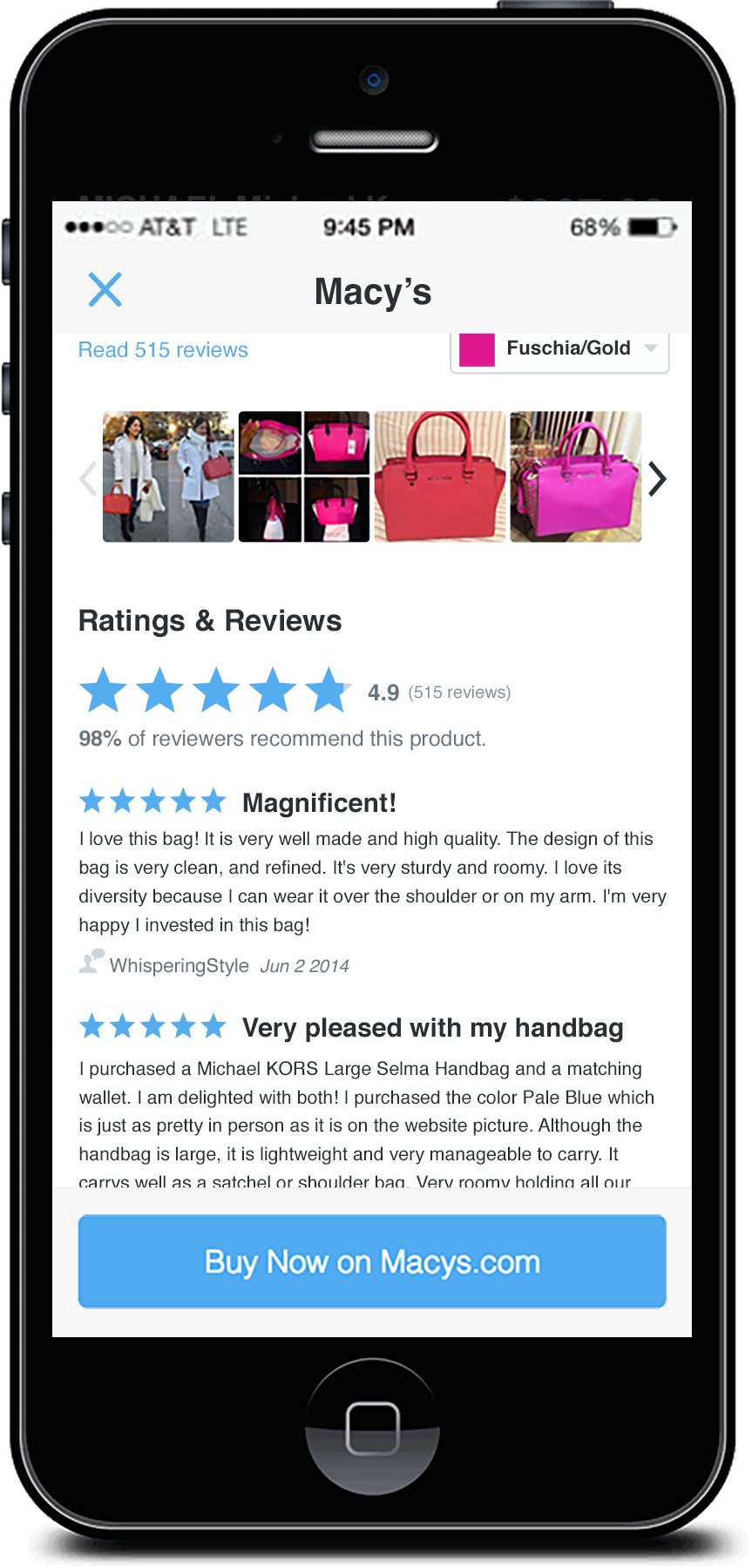 Another screenshot from the product detail screen,showing the user-submitted photos and reviews just below the hero photo.