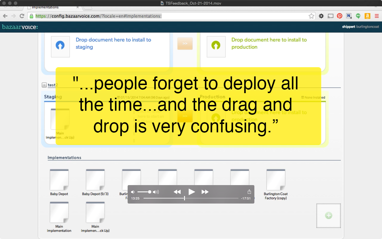 Screenshot / quote from initial focus group for the old tool