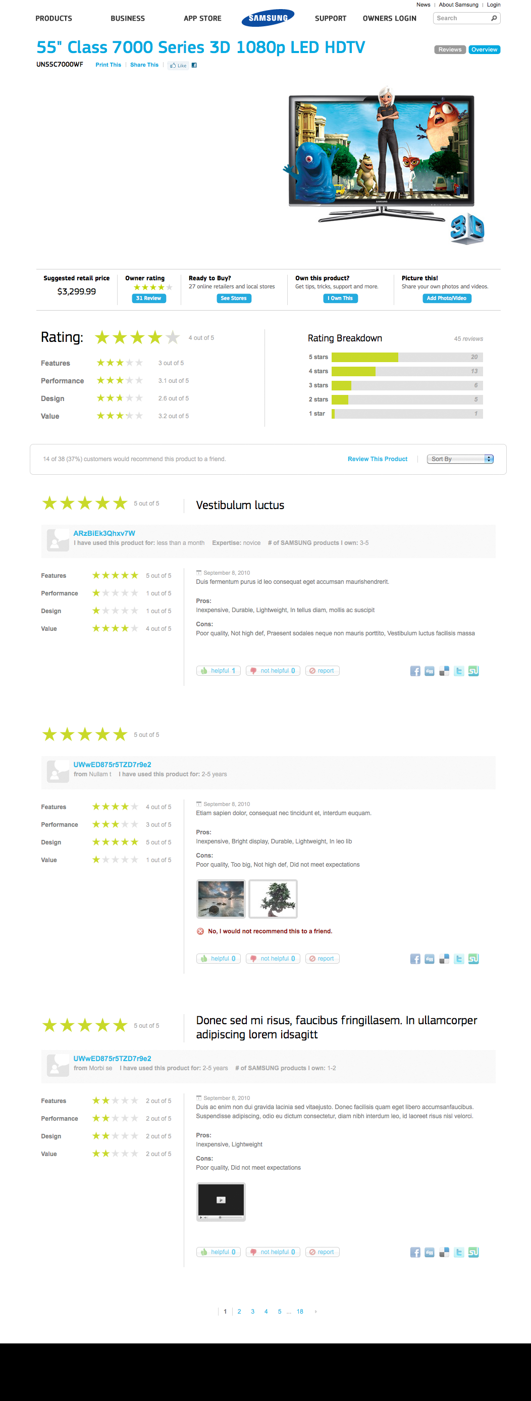 Samsung's redesigned ratings and reviews display (completed in 2010)