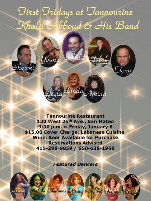 First Friday Arabic music and belly dance party in San Mateo at Tannourine Restaurant