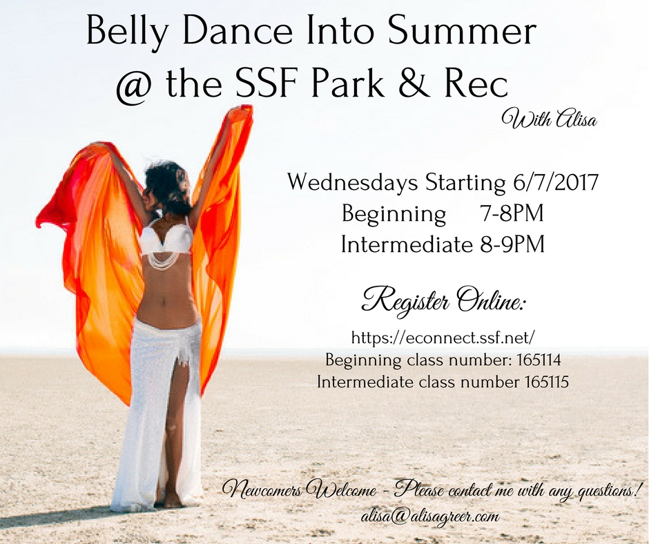 Summer Belly Dance Classes with Alisa in South San Francisco!