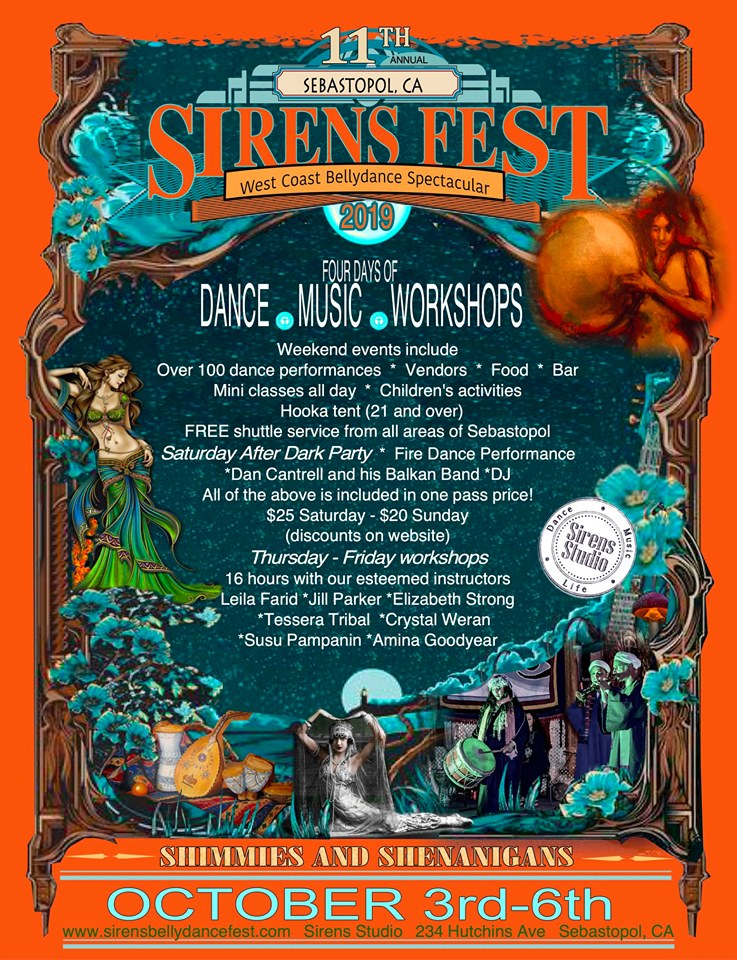 SirensFest Belly Dance Festival in Sebastopol, CA October 3 - 6, 2019