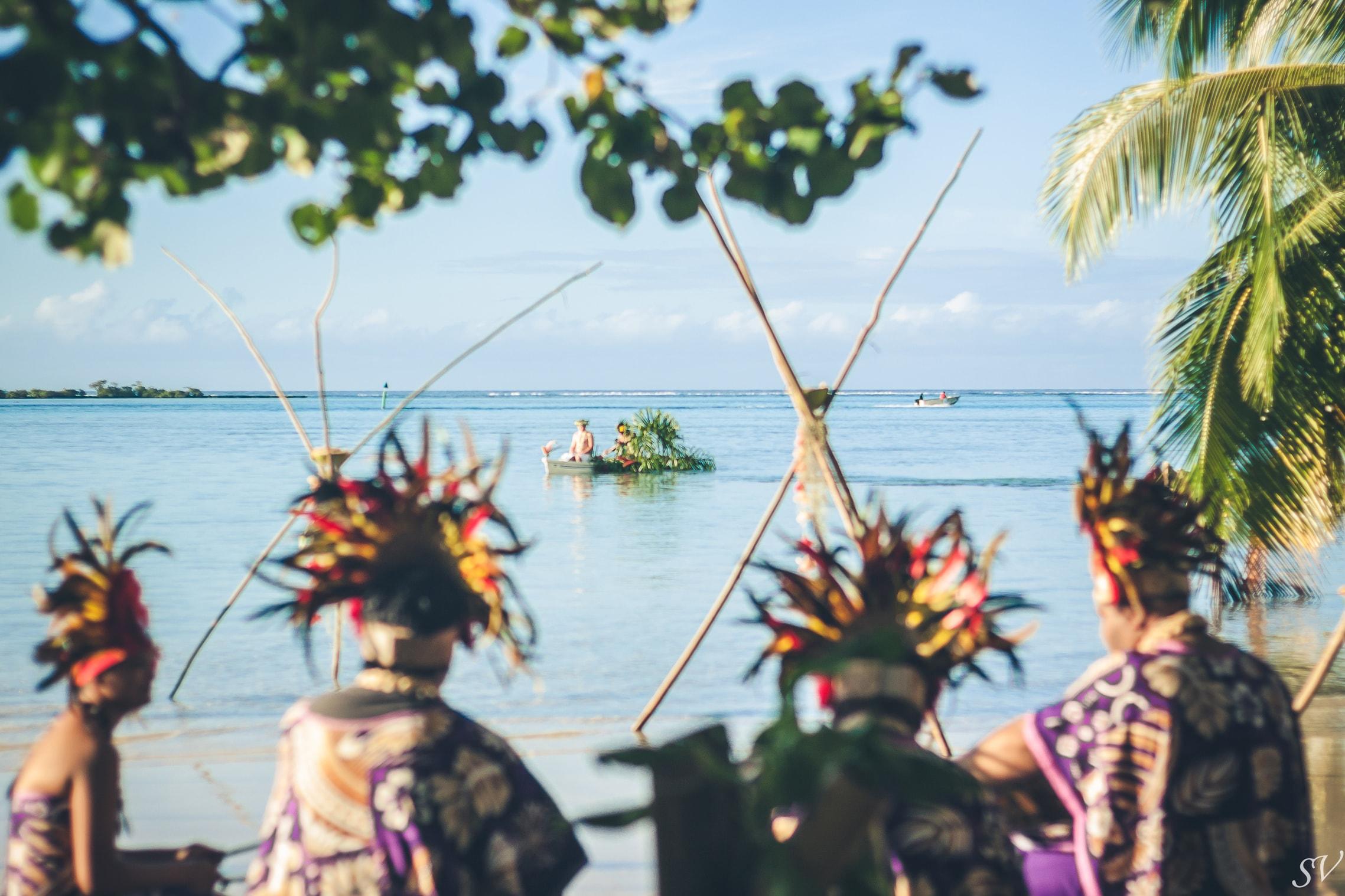 Polynesian wedding into a private beach