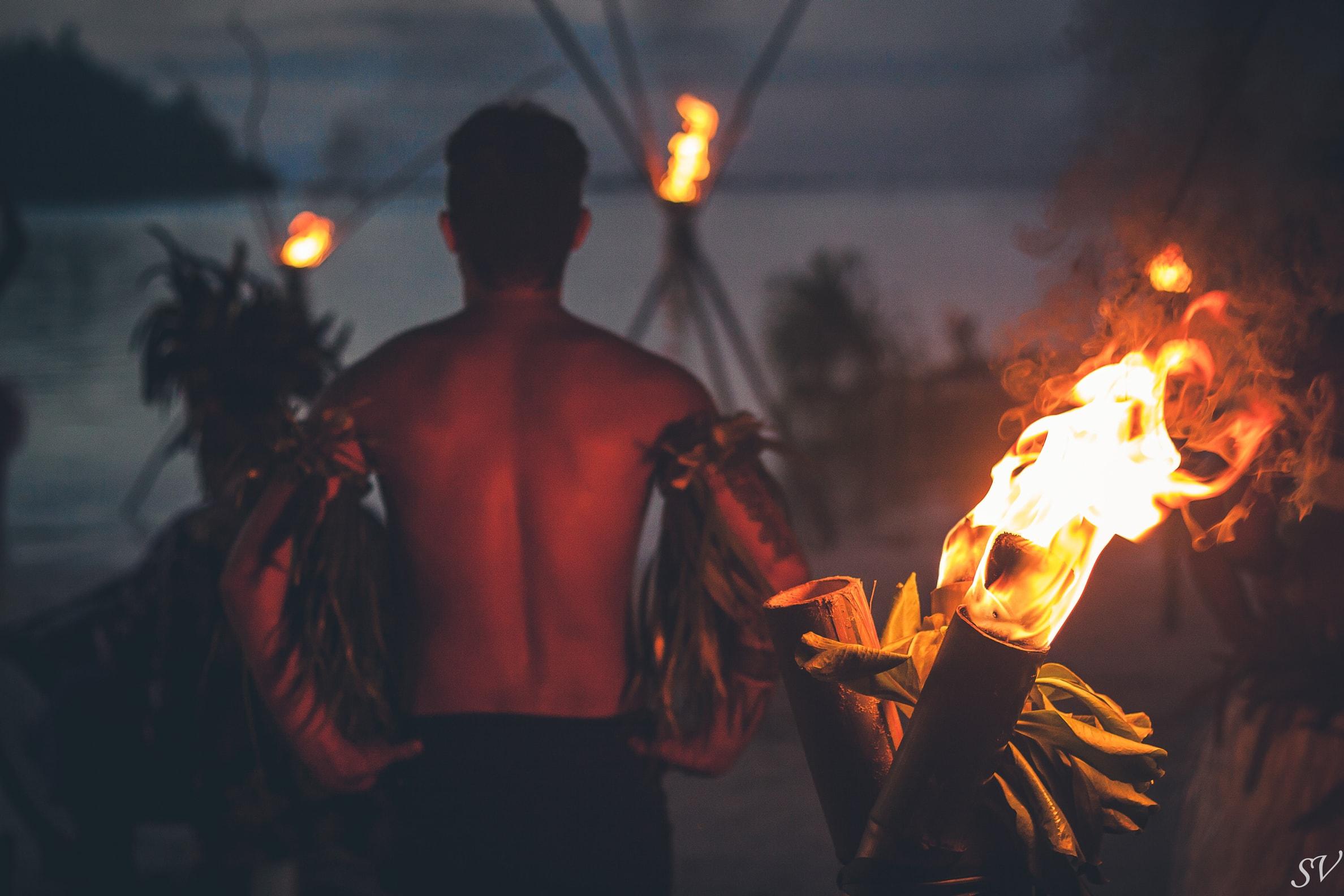 Fire dancer during a polynesian wedding