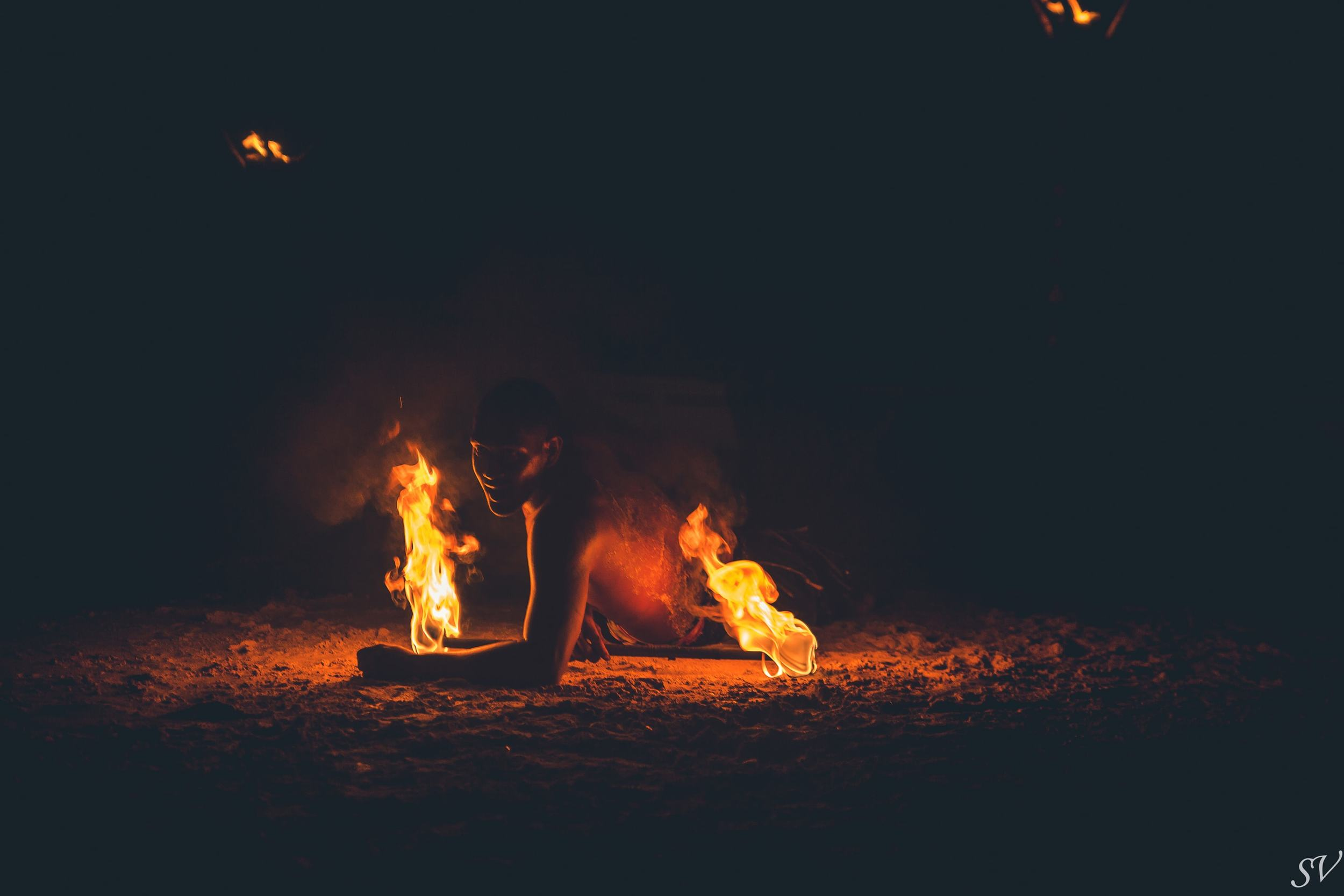 Fire dancer during a destination wedding in Moorea, Tahiti