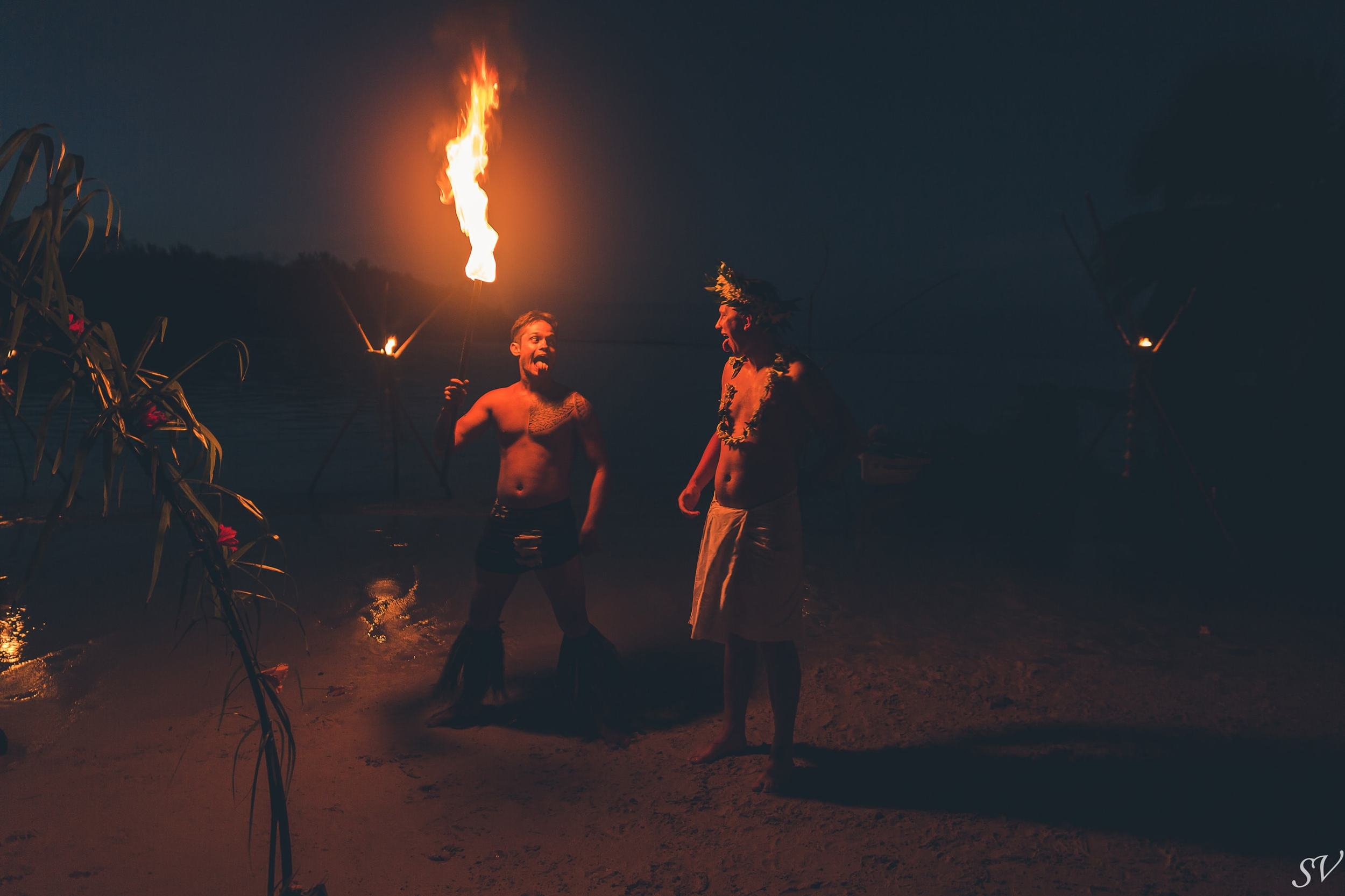 Fire show during the destination wedding