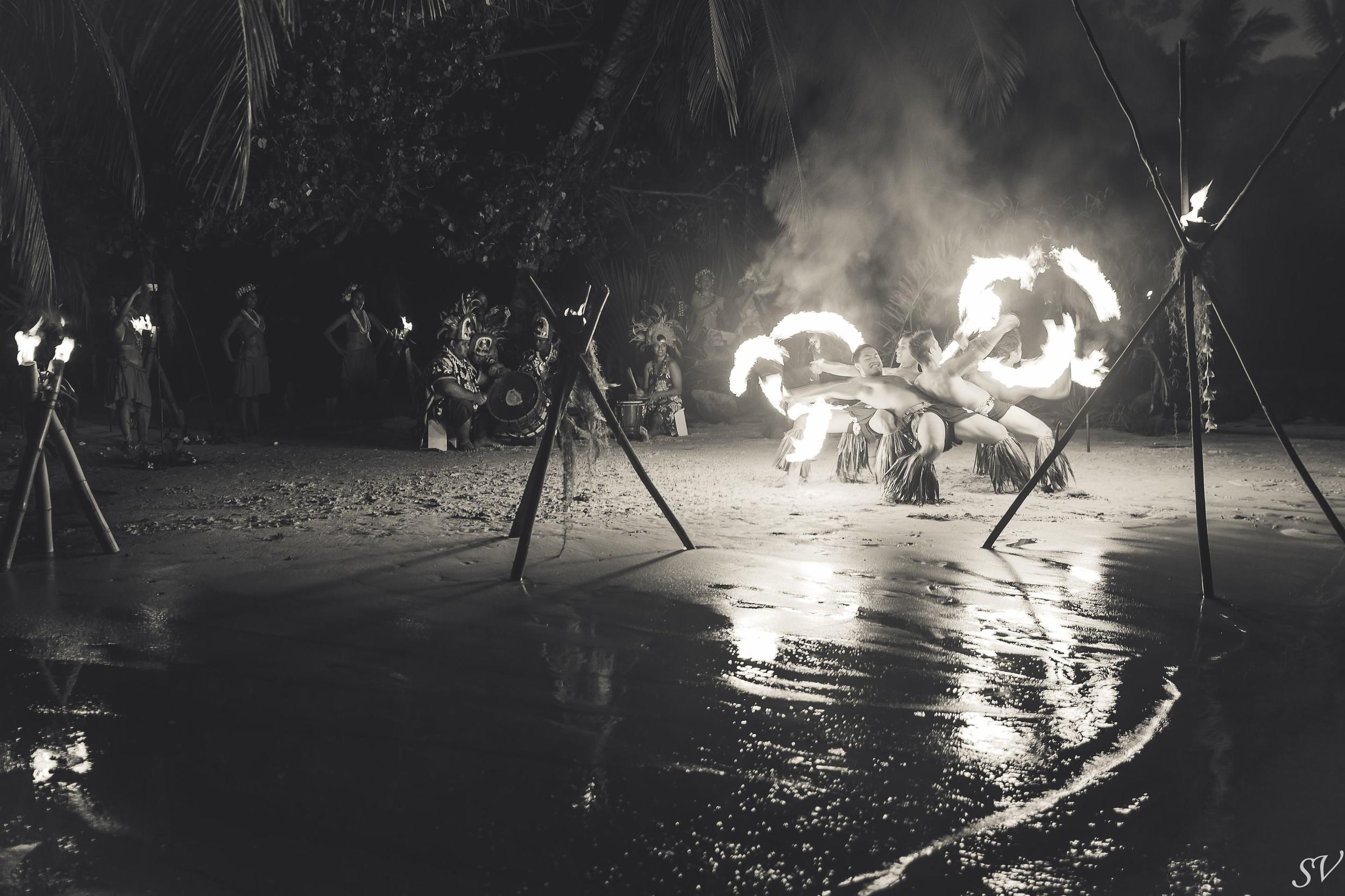 Fire dancing during a destination wedding in Moorea
