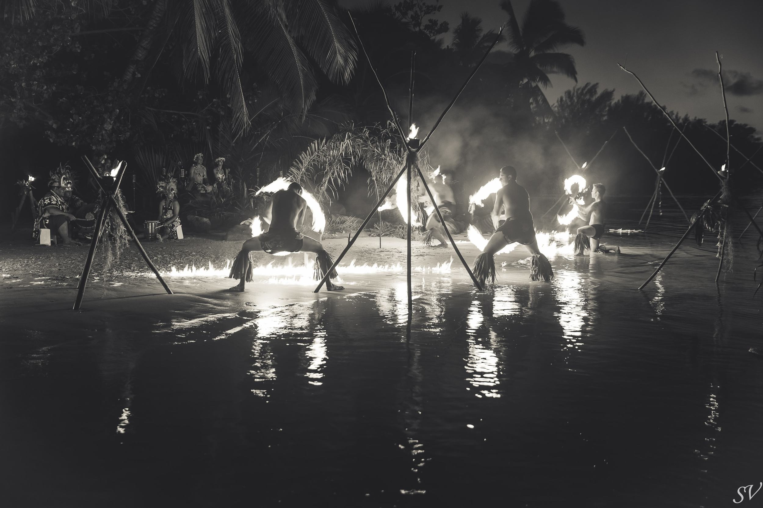 Fire dancing show in Polynesia