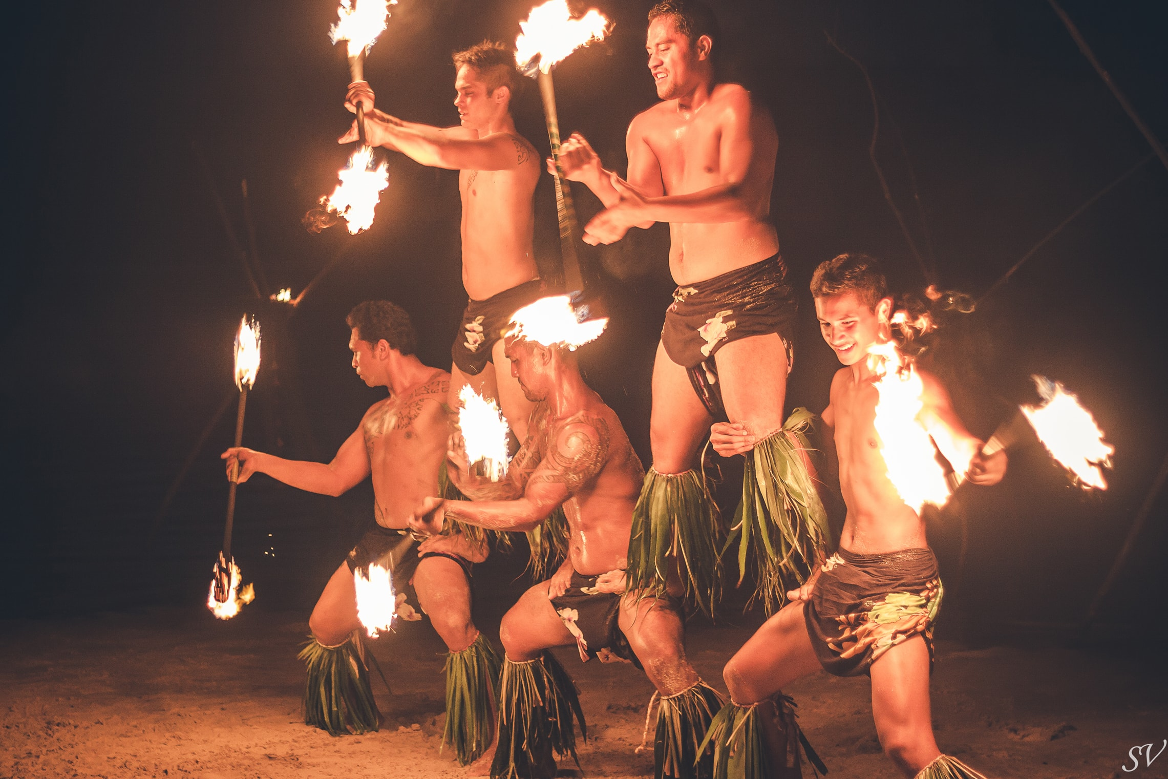 Fire Polynesian dancer during a wedding in Moorea, Tahiti