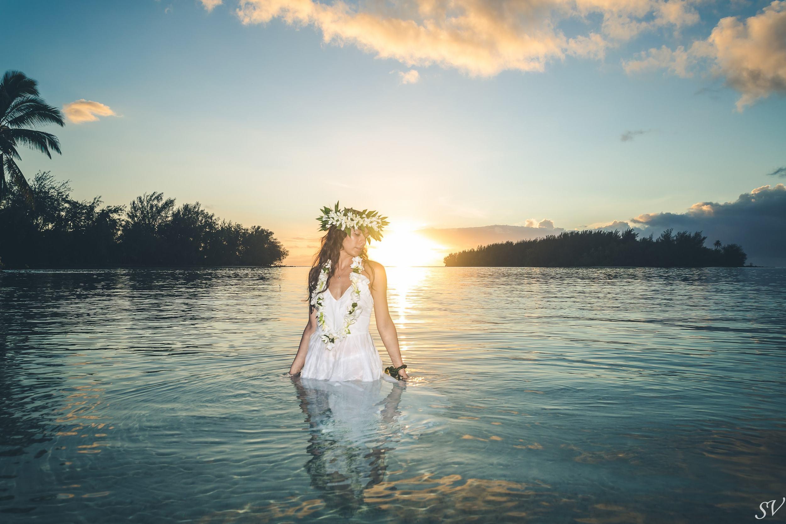 Trash the dress into the lagoon