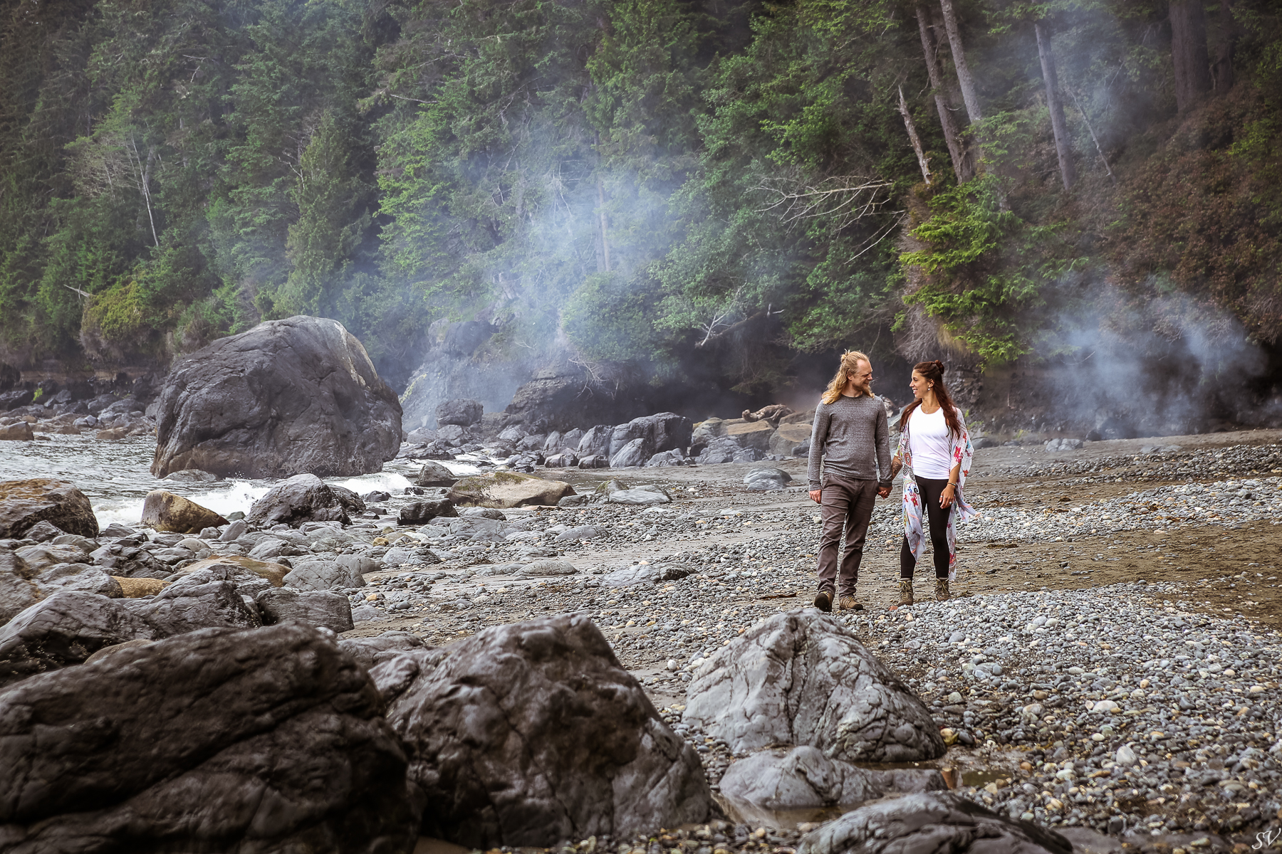 Vancouver Island engagement photoshoot mystic Beach