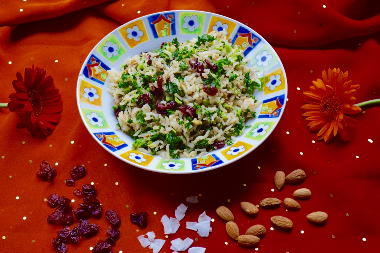 kale cranberry coconut rice, healthy, onelifetwoways, south indian, vegan, recipe
