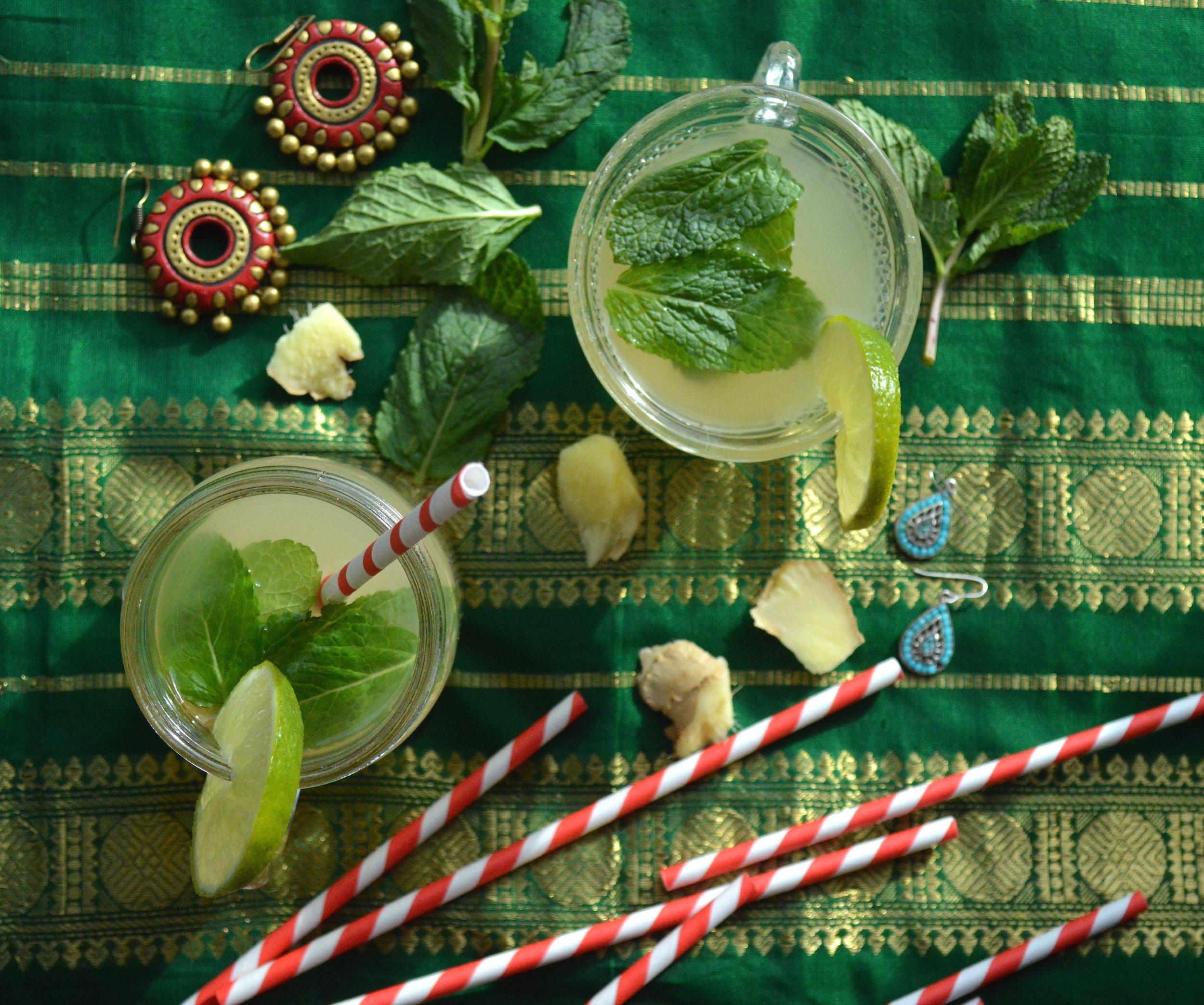 ginger lime mint cooler, drink, summer drink, refreshing, healthy, onelifetwoways, south indian, vegan, recipe