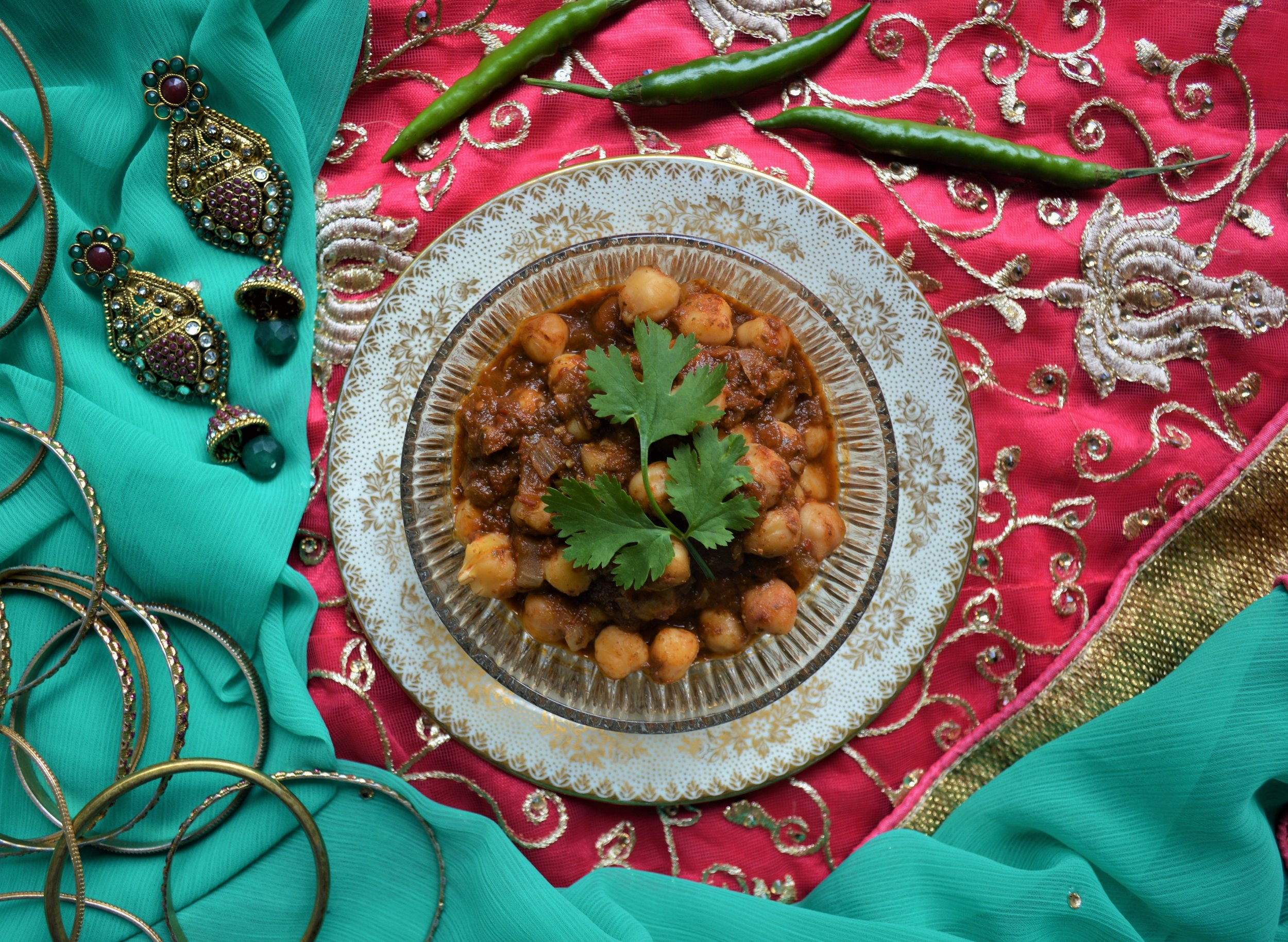 chole, chickpea stew with tomato, onion and coriander gravy