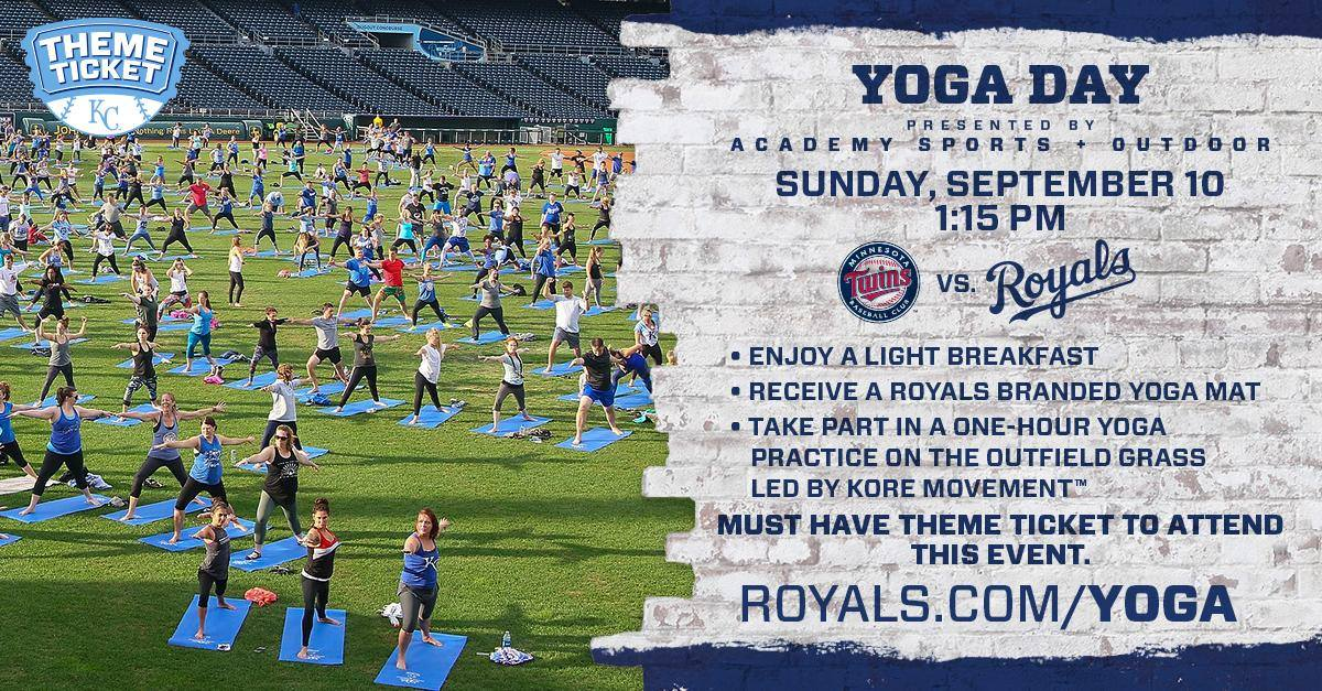 Join us September 10, 2017 ON THE FIELD!     Includes your ticket to the game, an exclusive co-branded Royals + KORE MOVEMENT Yoga Mat, a unique 60 minute yoga flow class led by KORE MOVEMENT'S Jennifer Glass with demonstration by Heather Carroll and Morgan Hoog and a light breakfast following the practice. It is a full day of movement, fun and unity. REGISTER HERE @Royals.com/yoga.    EVENT HASHTAGS #YogisInTheOutfield #koremovement     Tag: @koremovement @jenniferglass @kcroyals